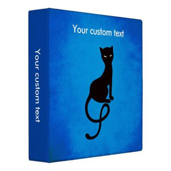 Custom Text Blue Gracious Evil Black Cat Binder