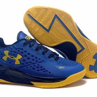 Men's Under Armour Stephen Curry One Low Top Auto MVP Blue Yellow White Basketball Shoes