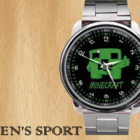 New Creepers Minecraft game load logo sport metal watch