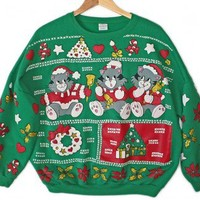 Vintage 80s Christmas Cats Tacky Ugly Kitty Sweatshirt Women's Plus Size 3X $25 - The Ugly Sweater Shop
