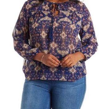 Plus Size Blue Combo Tie-Neck Blouse by Charlotte Russe