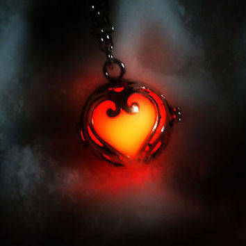 Sterling Silver Lovers Heart Glow in the Dark Luminous Locket Pendant Necklace - Glowing Stone Orb Sphere - Materia