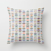 Mustache Mania Throw Pillow by Bianca Green