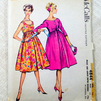 Vintage Sewing Pattern McCall's 4844 Princess seams dress coat Empire High waist 1950s 1958 Bolero Bust 36 Audrey Hepburn