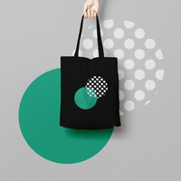 Geometric Black Tote Bag Circle - Canvas Tote Bag - Printed Tote Bag - Market Bag  - Large Canvas Tote - Funny Tote Bag Pink Dots