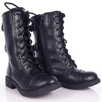 Dome2 Black Children Lace Up Military Combat Boots YOUNG GIRL KIDS soda shoes