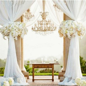 White 10M Top Table Chair Swags Sheer Organza Fabric Wedding Party Decoration