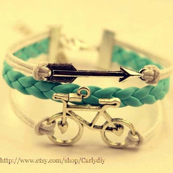 ancient silver arrow and bicycle charm bracelet, mint green woven bracelets - alloy bracelet, Christmas gifts, gift friendship