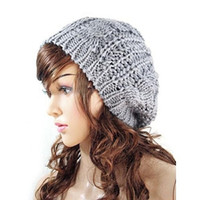 New Women Ladies Baggy Beret Chunky Knit Knitted Braided Beanie Hat Ski Cap = 1946494660
