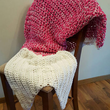 Hot pink and White Mermaid Tail Blanket. Made by Bead Gs on ETSY. Adult size. mermaid tail