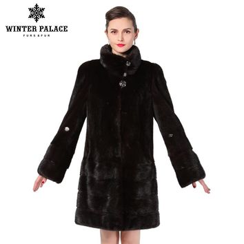 New style fashion fur coat,Genuine Leather,Mandarin Collar,good quality mink fur coat, women natural black coats of fur