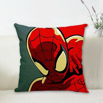 1 Pcs 43*43cm Superhero Cushions Linen Cushion Cover Batman Iron Man Spiderman Pillow For Living Room Bed Room