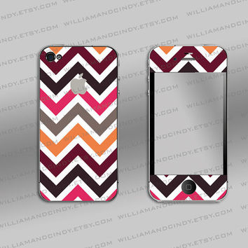 Iphone 4 4s 5 Decal Cover  Chevron colour by williamandcindy