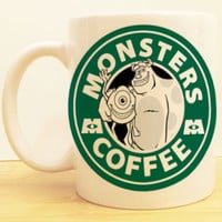 Monsters Inc Coffee Mug |  Mike and Sully Starbucks |  Disney Monsters University