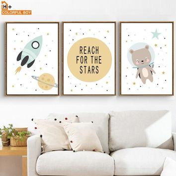 Bear Rocket Planet Reach Quotes Wall Art Canvas Painting Nordic Posters And Prints Cartoon Wall Pictures Baby Kids Room Decor