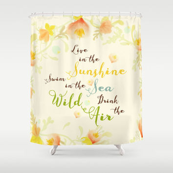 Shower Curtain, Quote, Bathroom Decor, Wild Air, Live, Pastel Yellow, Hippie, Swim in the Sea, Whimsical, Boho Home Decor, Bohemian, Summer