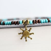 Sun Charm Brass Necklace, Wood and Turquoise Hippie La Sol Beach Necklace, Blue and Brown Beaded Necklace