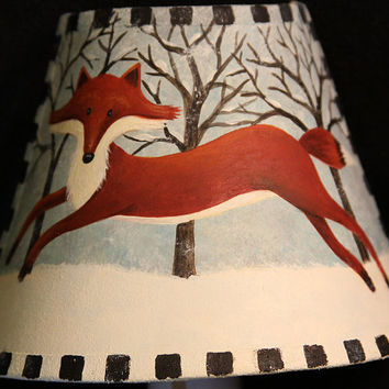 Primitive Folk Art Hand Painted Night Light, Winter Country Scene with Red Fox Dashing Across the Snow, Rustic Home Decor MADE TO ORDER