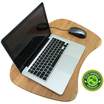 Lap Desk Laptop Table Tray Natural Bamboo Desk with Added Cushion, Large Enough for Any Size Laptop Eco Friendly