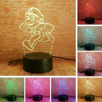 Super Mario party nes switch 2018 Cartoon Running  Bros Action Figure Toy 7 Colors Changing Decor LED USB 3D Touch Night Light Home Party Gifts AT_80_8