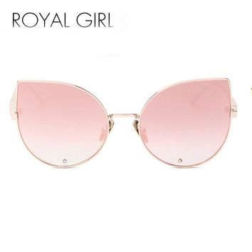 ROAYL GIRL New Fashion Sunglasses Female Brand Women Designer Cat Eye Glasses Oversized Women Mirror UV400 Glasses SS546
