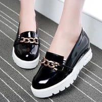 2015 Spring And Autumn Fashion Metal Buckle Japanned Leather Platform Creepers Shoes Woman Elevator Loafers Big US Size 10.5