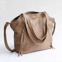 Beige leather bag - Soft leather bag - Cross body bag - Leather Shoulder bag - Leather tote bag - Maykobags - Zippers bag