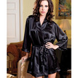 Satin 3-4 Sleeve Robe W-matching Sash Black S-m
