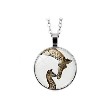 DCCKV2S Giraffe necklace Mama and Baby Animal Jewelry Wildlife Safari Nature Art necklace