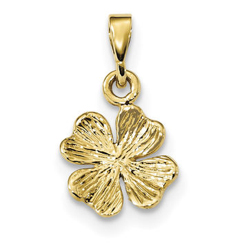 14k Gold Polished & Textured Four Leaf Clover Pendant K5930