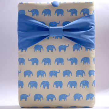 "Macbook Pro 13 Sleeve MAC Macbook 13"" inch Laptop Computer Case Cover Blue Elephants with Blue Bow"