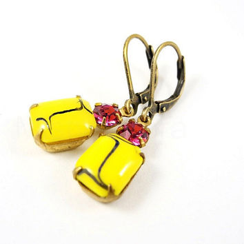 Yellow Fuchsia Dangle Earrings - Colorblock Jewelry - Neon Jewelry