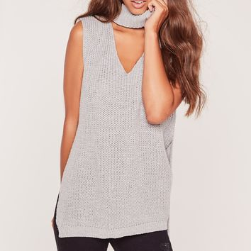 Missguided - Choker Neck Chunky Tunic Grey