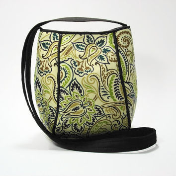 Crossbody Bag Purse in Green Paisley Print Fabric/ Paisley Hip Bag/ Fabric Hip Bag/ Shoulder Strap Purse Bag/ Mother's Day Gift