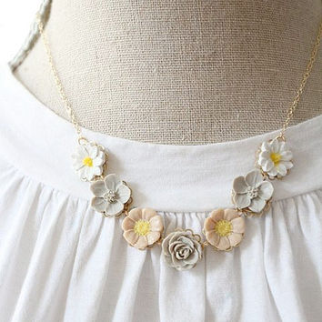 Pale Grey and Beige Statement Necklace