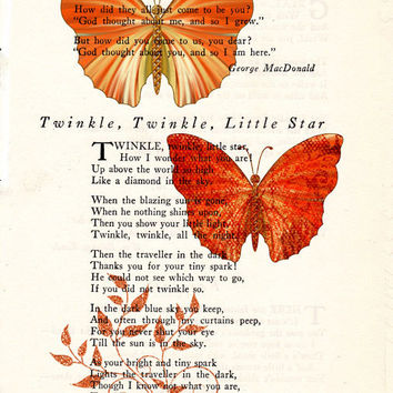 Orange and Red Butterflies Book Page Art Poem Page Art Upcycled Art Print Antique Poem Book Orange and Red Butterflies Print cp386