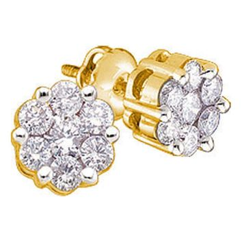 Yellow-tone Sterling Silver Womens Round Diamond Flower Cluster Stud Earrings 1/4 Cttw