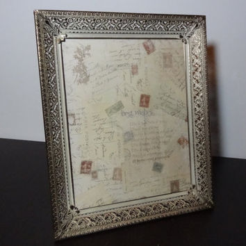 Vintage Antiqued Ornate 8 x 10 Whitewashed Gold Tone Metal Filigree Picture Frame - Floral Design - Hollywood Regency/Shabby Chic