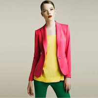 Candy Color Single Buttoned Lapel Coat