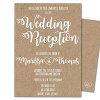 Kraft Wedding Reception Invitations - Wedding Reception Party Invitation - Reception Party Invite - White and Kraft Wedding Party Invites