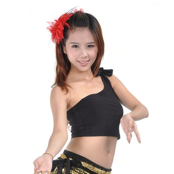 HOT Sexy Women New tribal Belly Dance Cropped Top Sleeveless One Shoulder Shirt Blouse L34