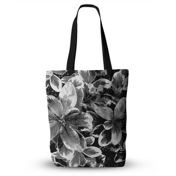 "Julia Grifol ""Leaves In Gray"" Floral Black Everything Tote Bag"
