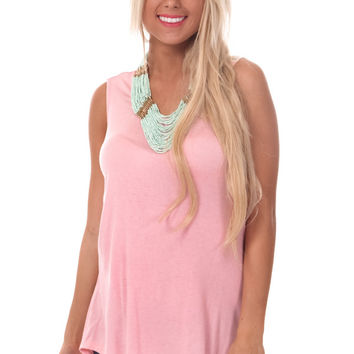 Pink High Low Tank with Crochet Draped Back