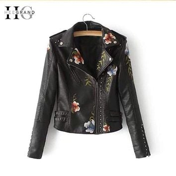 HEEGRAND Slim PU Leather Rivet Jackets Women 2018 Autumn New Punk Motorcycle Jacket Embroidery Short Coats Black Outwears WWP206 Macchar Cosplay Catalogue