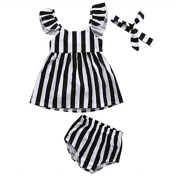 Newborn Toddler Clothes Baby Girls Striped Tops Dress+Pants Shorts+Headband Outfits Clothing