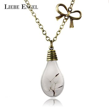 Glass Bulb Shaped Dandelion Gold Color Long Chain Necklace