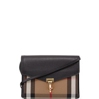 Small Leather & Check Crossbody Bag, Black - Burberry