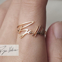 Personalized Signature Ring - Actual Handwriting Ring - Memorial Jewelry - Bridesmaid Gift PR03