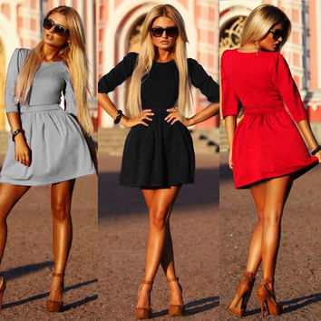 3/4 Sleeves Pleated A-line Short Skater Dress