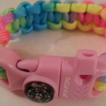 Rainbow 1 paracord parachute cord 550/325 bracelet with survival buckle or regular buckle